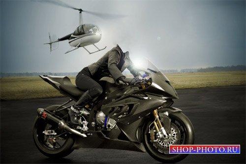 Шаблон для photoshop - Девушка на мотоцикле