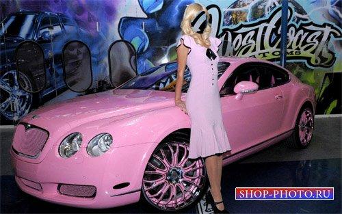 Шаблон для фотошопа - Девушка и гламурный Bentley