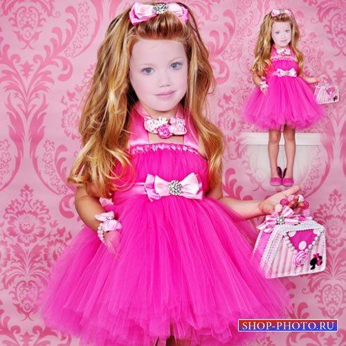 Шаблон для фото - Модница в пышном розовом платьице