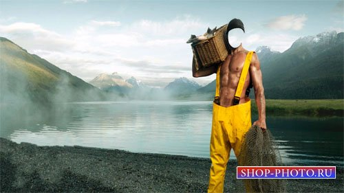 Шаблон для photoshop - Рыболов на озере