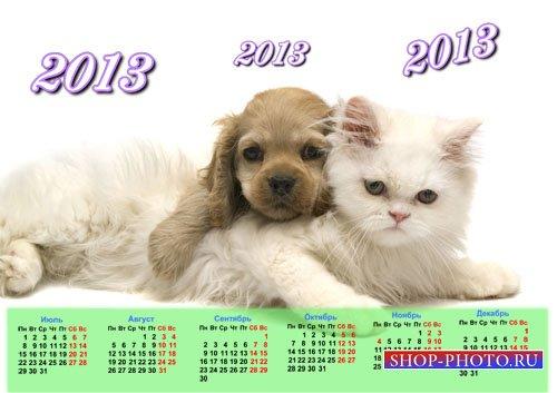 Календарь 2013 - Собачка и кошечка