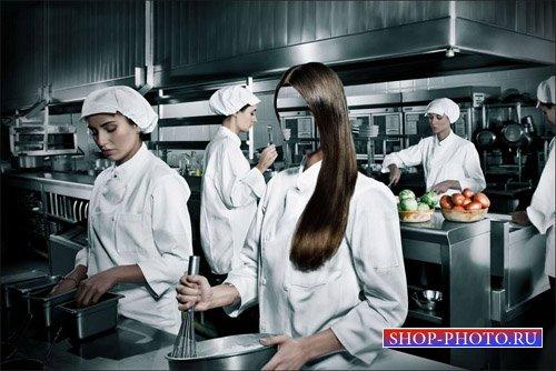 Брюнетка повар профессиональной кухни - шаблон для фотошопа