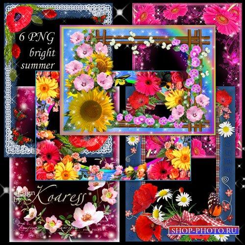 Набор из 6 цветочных рамок для фото - Яркие летние цветы