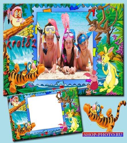 Яркая детская рамка - Летние денёчки с героями мультфильма Винни-Пух