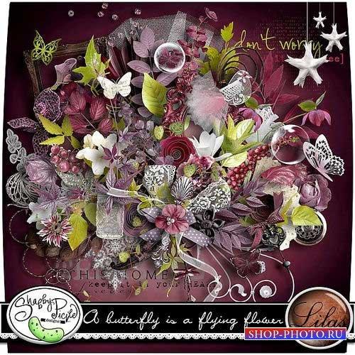 Красивый винтажный набор для скрапбукинга - Бабочка,летающий цветок