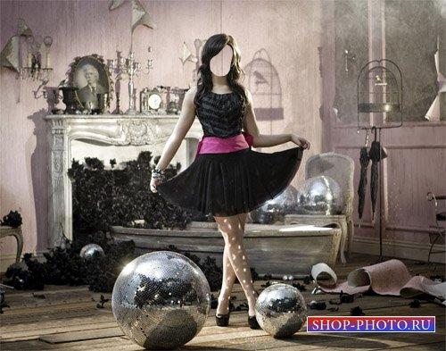 Шаблон psd женский - Интересная фотосессия девушка в красивом платье