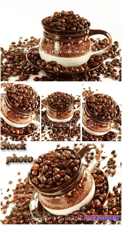 Кофе, кофейные зерна / Coffee, coffee beans - Raster clipart