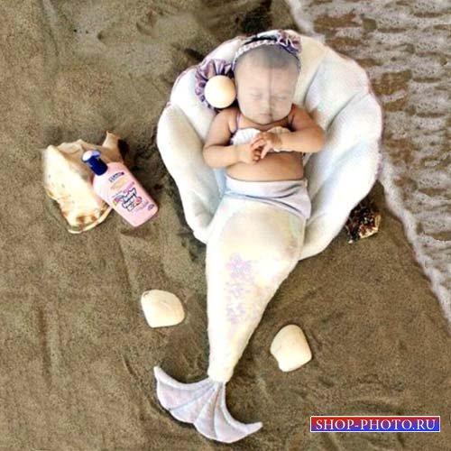 Шаблон для photoshop - Русалка отдыхает у моря