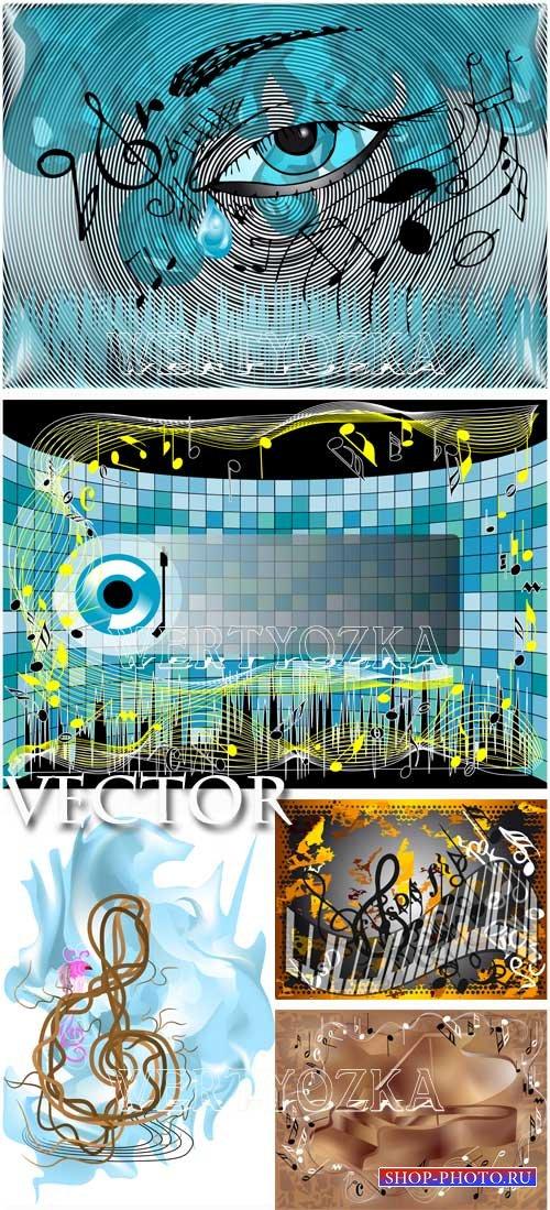 Музыкальные фоны / Musical backgrounds, music - vector clipart