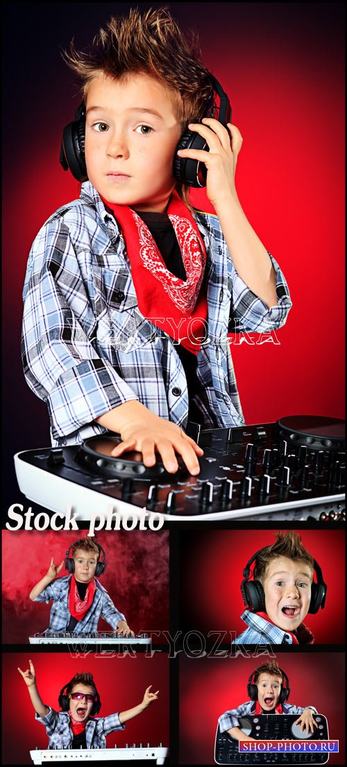 Мальчик диджей / Boy musician - Raster clipart