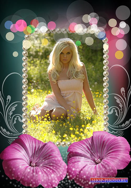 Цветочная фотошоп рамка с узорами и разноцветными бликами