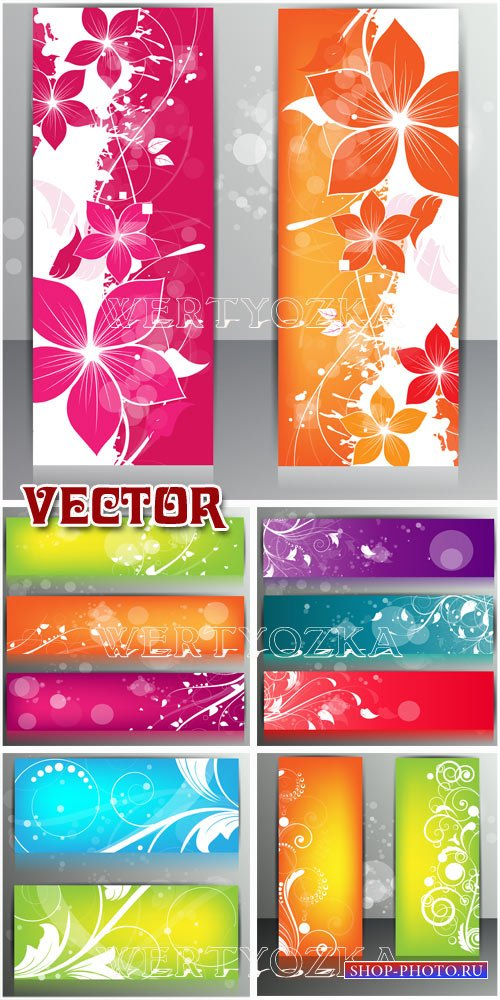 Баннеры с цветами и узорами  / Banners with the colors and patterns - vecto ...