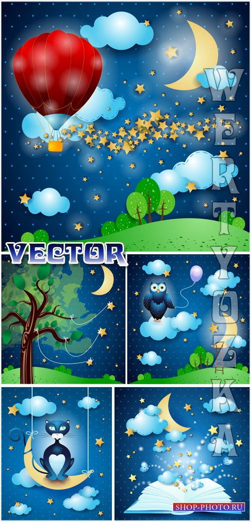 Сказочные фоны / Fairy backgrounds - vector clipart