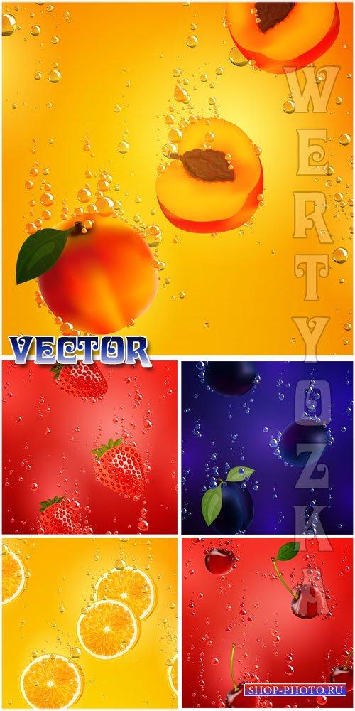 Векторные фоны с фруктами, клубника, вишня, слива, лимон / Vector backgroun ...