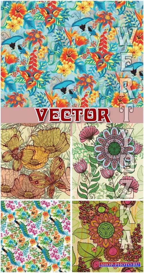 Векторные фоны с цветами и птицами / Vector background with flowers and bir ...