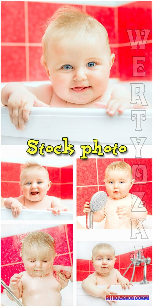 Купание малыша в ванной / Bathing the baby in the bathroom - raster clipart