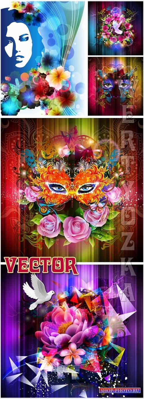 Фоны с цветами, маской  и силуэтом девушки / Background with flowers, a mas ...