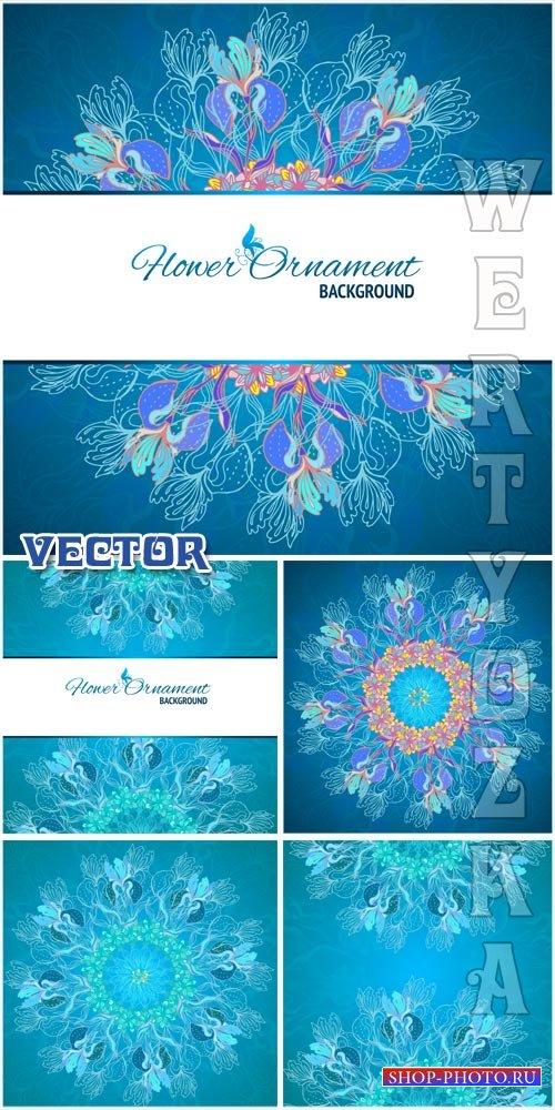 Бирюзовые векторные фоны с цветочным орнаментом / Turquoise vector backgrou ...