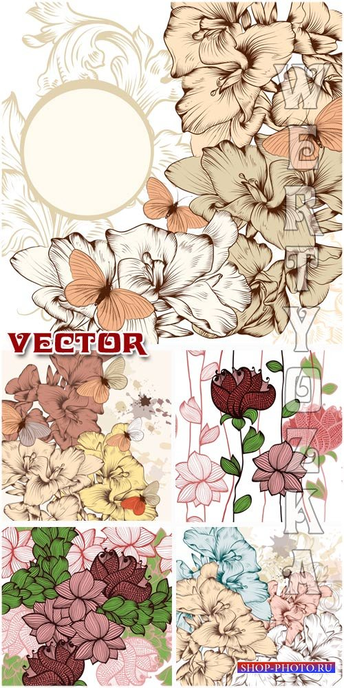 Фоны с цветами и бабочками / Backgrounds with flowers and butterflies - Vector clipart