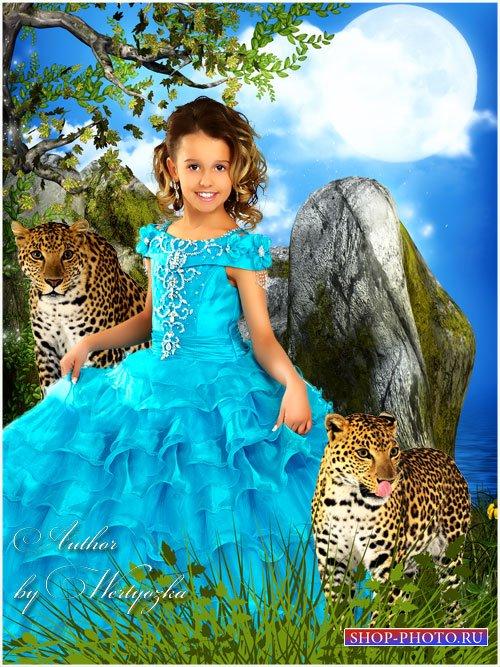 Детский шаблон для фотошопа - Девочка с леопардами