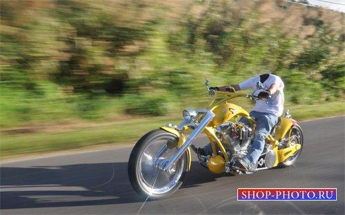 Шаблон для фотошопа - Путешествие на желтом мотоцикле