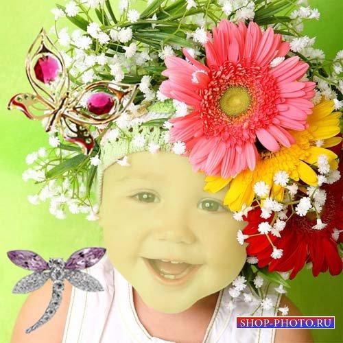 Шаблон для фотошопа - Малютка в веночке из гербер