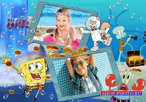 Детская фоторамка для фото с героями мультфильма Губка Боб Квадратные Штаны