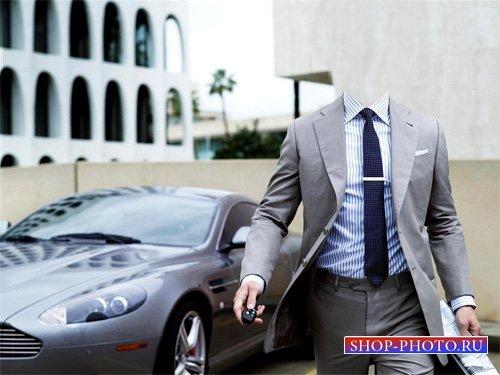 PSD шаблон - Бизнесмен в костюме на отличном Maserati