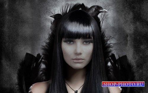 Мистическая красотка с воронами - шаблон для фотошопа