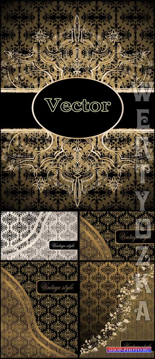 Винтажные векторные фоны с золотыми узорами / Vintage vector background wit ...
