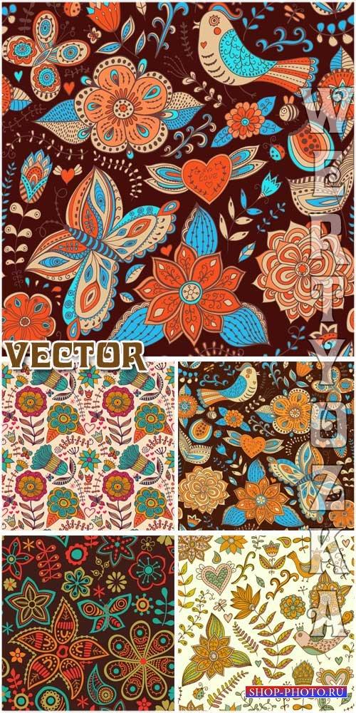 Цветы, птицы и бабочки на красивых векторных фонах