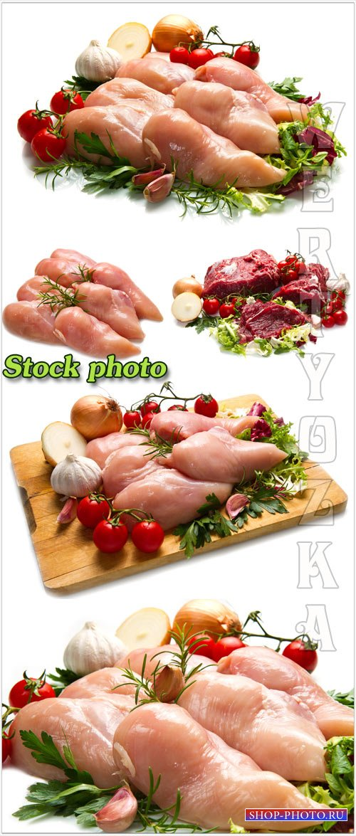 Мясо с овощами и зеленью на белом фоне / Meat with vegetables and greens on a white background - raster clipart