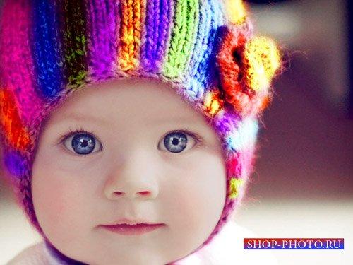 Шаблон для фото - Хорошенькая кроха в радужной шапочке