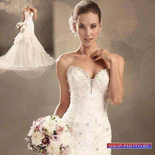 PSD шаблон - Восхитительная невеста в свадебном платье