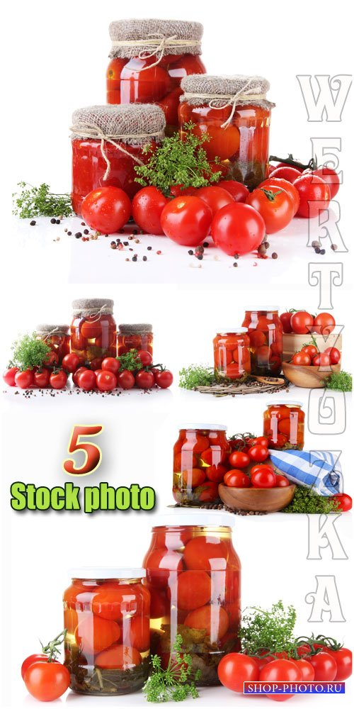 Томаты, консервация / Tomatoes, canned - Raster clipart