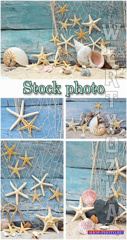 Морские фоны / Marine backgrounds, fishing nets and seashells - Raster clip ...
