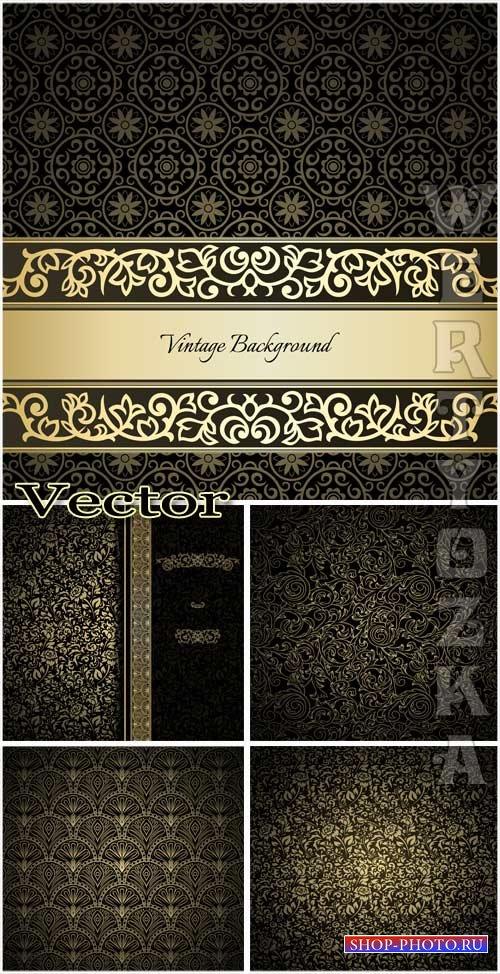 Черные винтажные фоны с золотыми узорами / Black vintage background with go ...