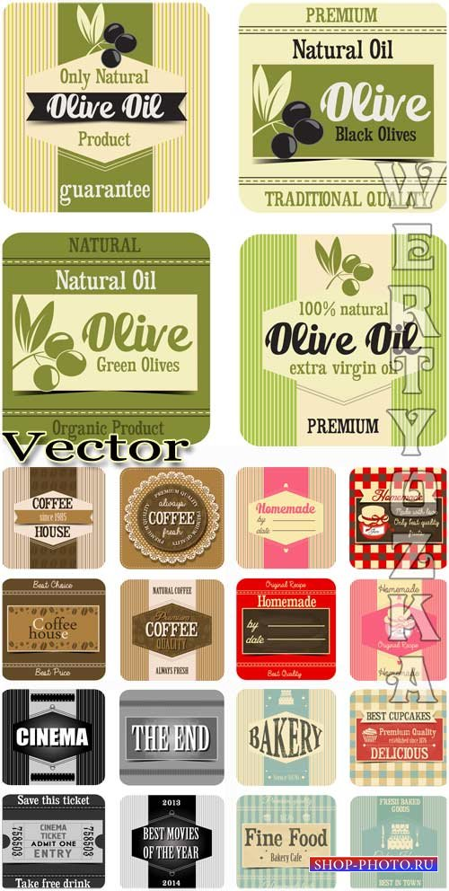 Продуктовые этикетки - векторный клипарт / Food labels - vector clipart