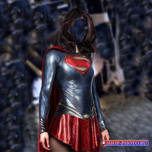 Шаблон для фото - Супер девушка в костюме