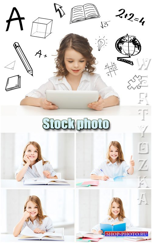 Девочка с книжкой / Girl with the book - Raster clipart