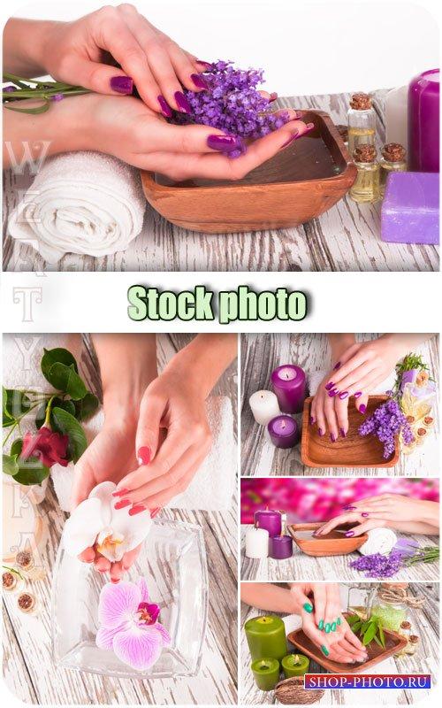 Спа процедуры, уход за руками / Spa treatments, hand care - Raster clipart