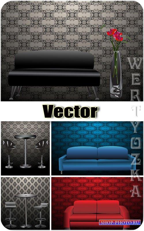 Диваны, столы и стулья / Sofas, tables and chairs - vector