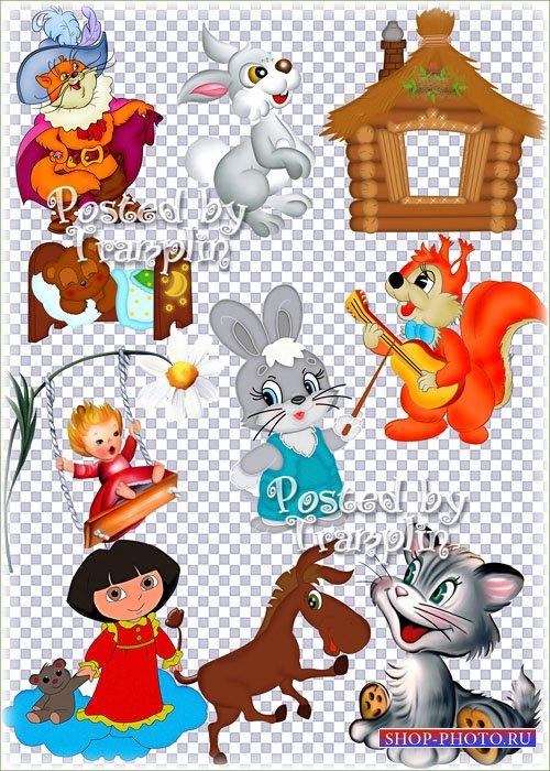 Детский клипарт на прозрачном фоне – Герои мультфильмов