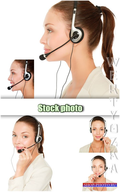 Девушка оператор call-центра / Girl operator call-center - Raster clipart