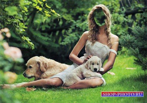 Шаблон для photoshop - Девушка на лужайке с двумя лабрадорами