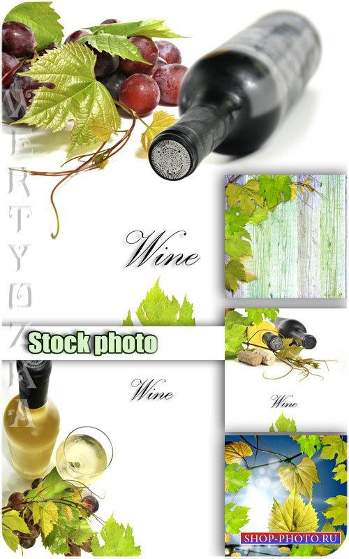 Вино, виноград, виноградные листья / Wine, grapes, grape leaves - Raster cl ...