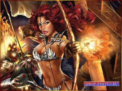 Шаблон женский для photoshop - Огненная женщина