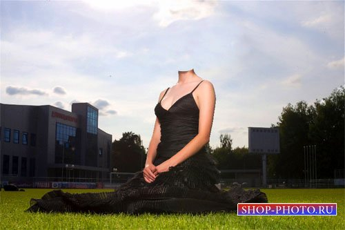 Женский шаблон - Девушка на травке в черном платье