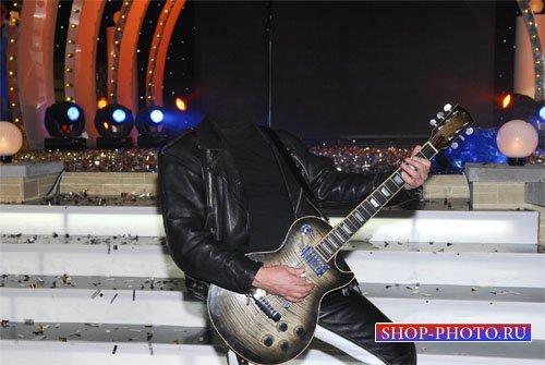 PSD шаблон - На своем выступлении с гитарой