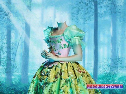 PSD шаблон - Белоснежка в ярком платье в лесу